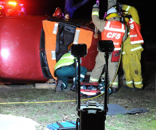 Portable lighting in operation at a Road Crash